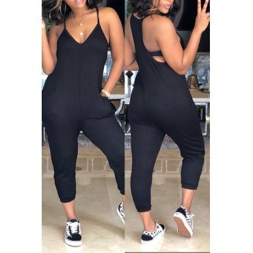 Lovely Euramerican Dew Shoulder Black One-piece Jumpsuits