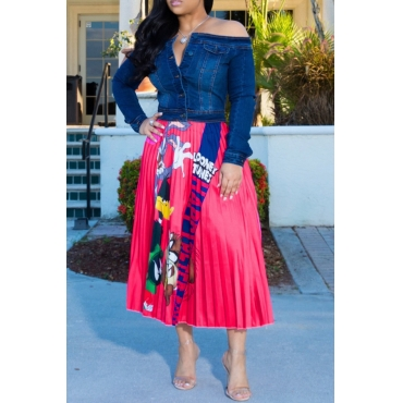 Lovely Casual Cartoon  Printed Rose Red Skirt