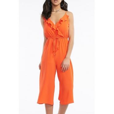 Lovely Trendy Flounce Design Jacinth One-piece Jumpsuit