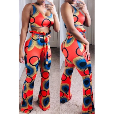 Lovely Chic Printed Red Two-piece Pants Set(With Belt)