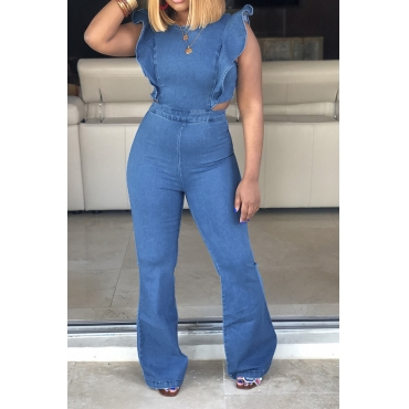 Lovely Trendy Ruffle Design Blue Denim One-piece Jumpsuit