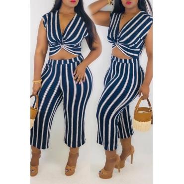 Lovely Trendy V Neck Striped Blue Two-piece Pants Set
