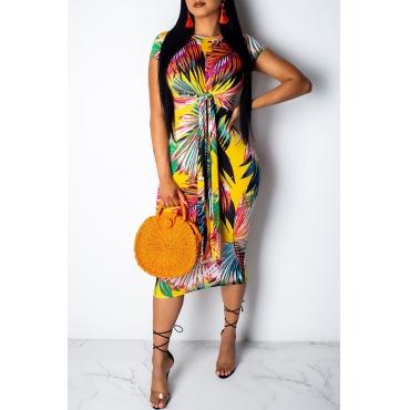 Lovely Trendy Printed Knot Design Yellow Knee Length Dress