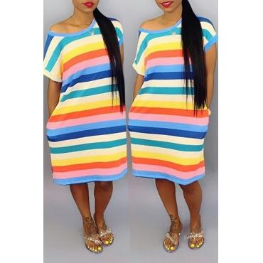 Lovely Casual O Neck Striped Knee Length Dress