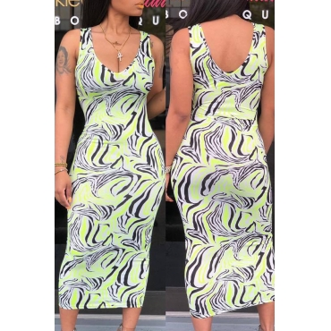 Lovely Casual Tank Sleeveless Printed Green Dress