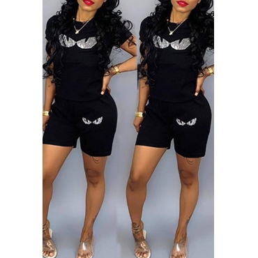 Lovely Leisure Printed Black Two-piece Shorts Set