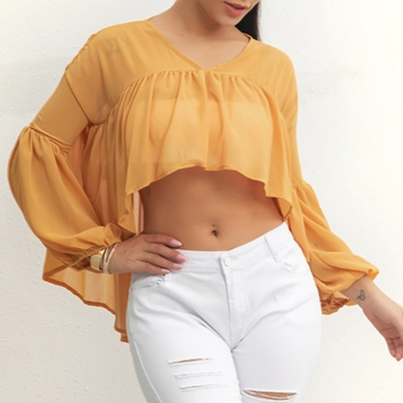 Lovely Stylish V Neck Ruffle Design Yellow Blouse