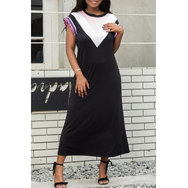 Lovely Leisure O Neck Patchwork Black Mid Calf Dress