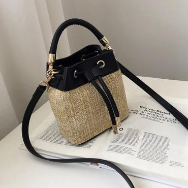 Lovely Casual Weaving Design Black Crossbody Bag