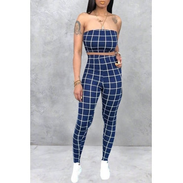 Lovely Women's Off The Shoulder Plaid Blue Two-piece Pants Set