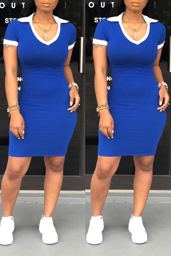 Lovely Casual Patchwork Royal Blue Mini Dress(With Elastic)