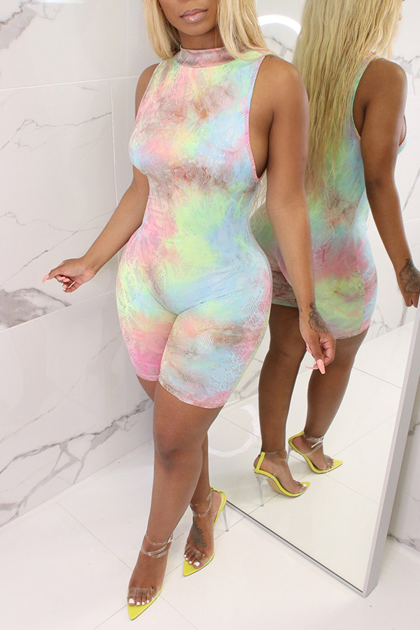 Lovely Casual Tie-dye One-piece Romper(With Elastic)