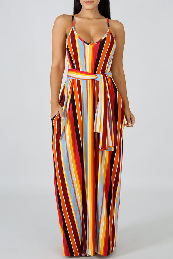 Lovely Bohemian V Neck Striped Orange Ankle Length A Line Dress