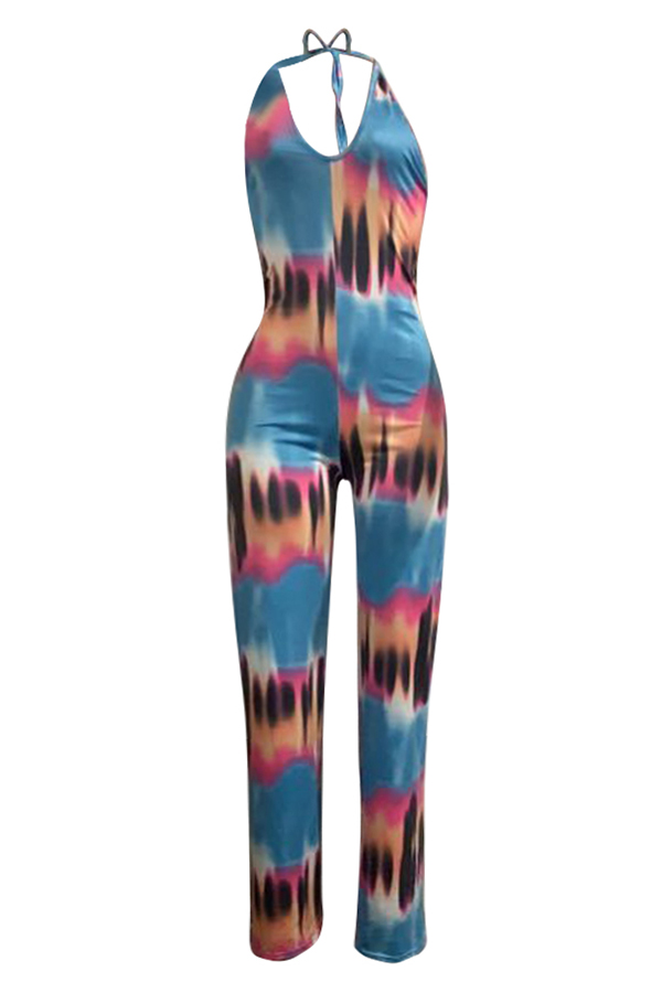 Lovely Casual V Neck Tie-dye Printed One-piece Jumpsuit