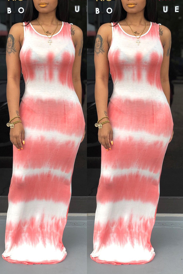 Lovely Casual O Neck Tie-dye Light Pink Floor Length A Line Dress