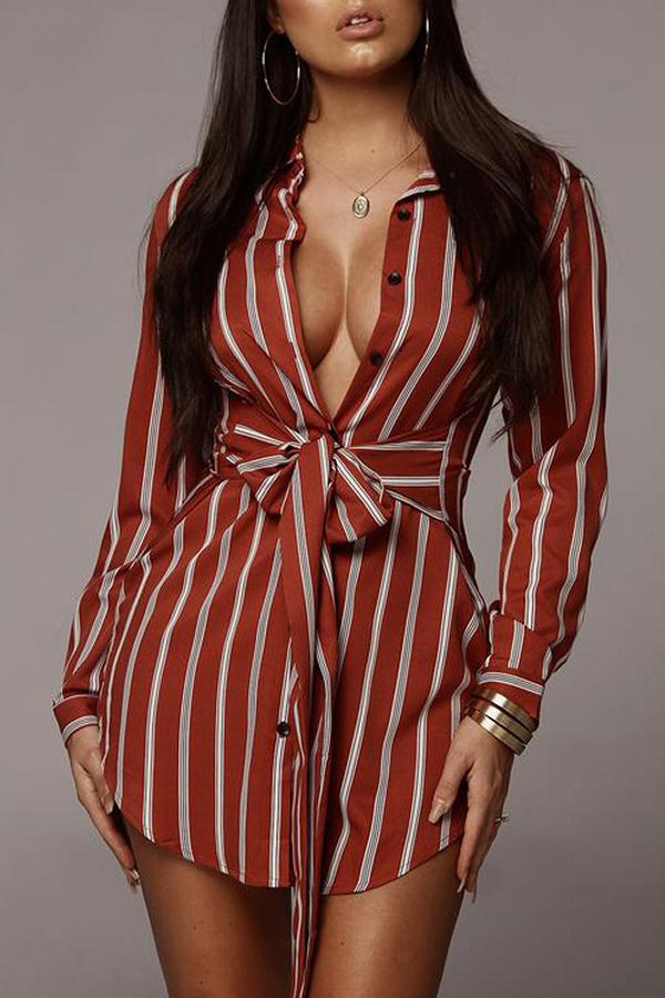 Lovely Stylish Turndown Collar Striped Wine Red Mini A Line Dress