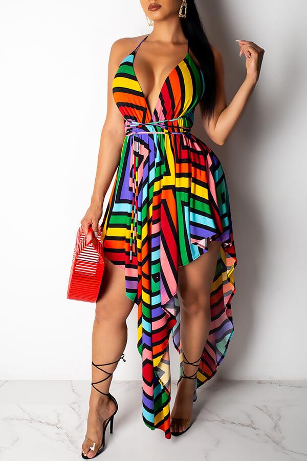 Lovely Sexy Deep V Neck Striped Printed Asymmetrical Mini Dress