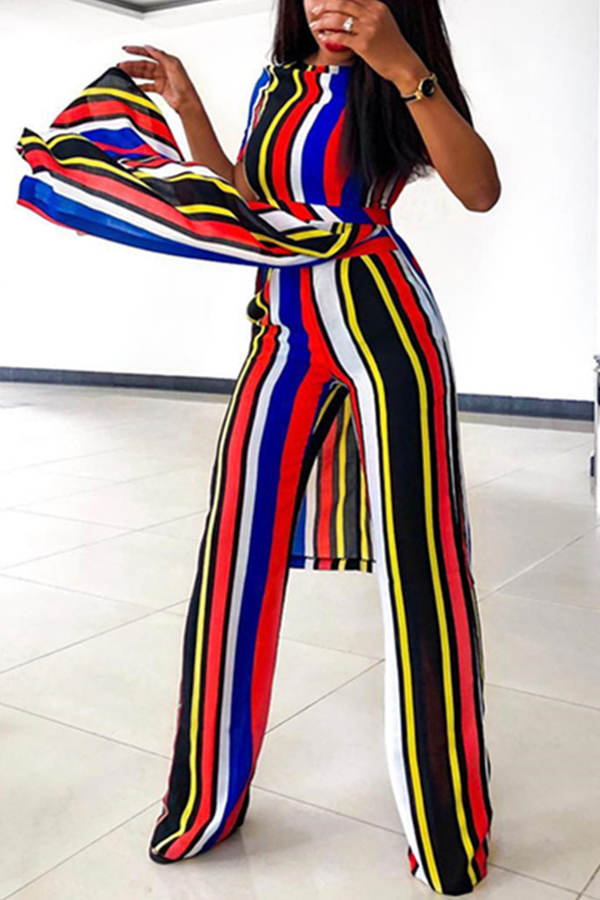 Lovely Stylish Striped Side Split Two-piece Pants Set