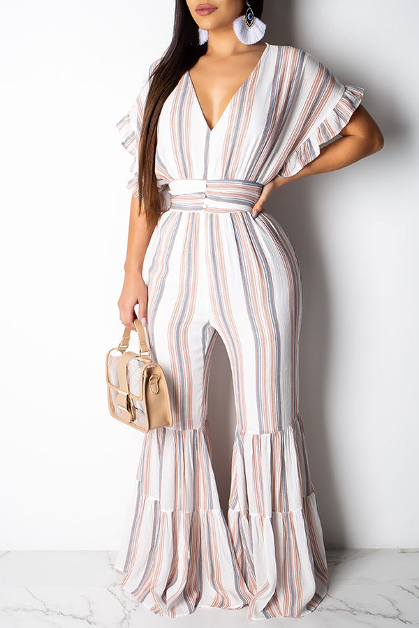 Lovely Sweet Flounce Design Striped One-piece Jumpsuit