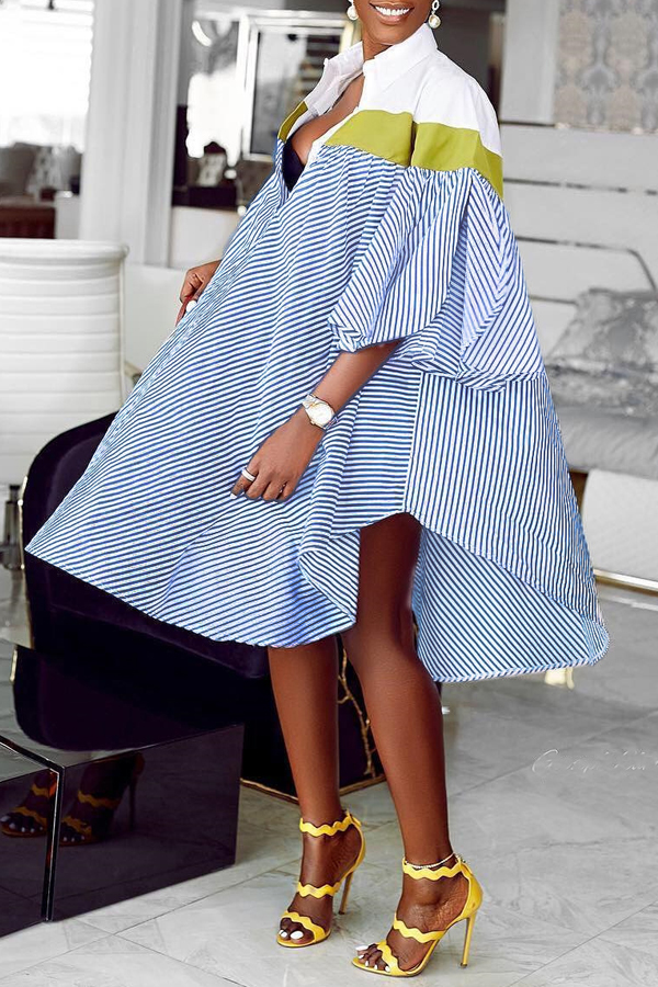 Lovely Casual Striped Blue Knee Length Shirt Dress