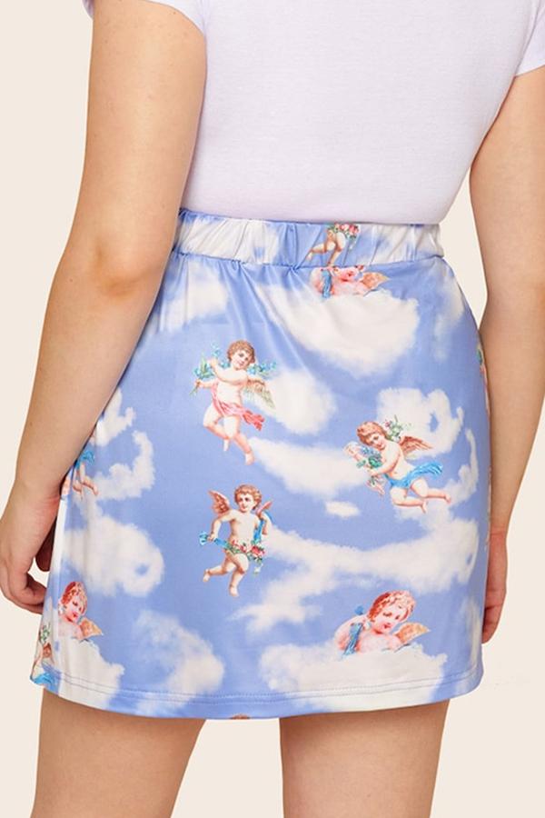 Lovely Stylish Angel Printed Skirt