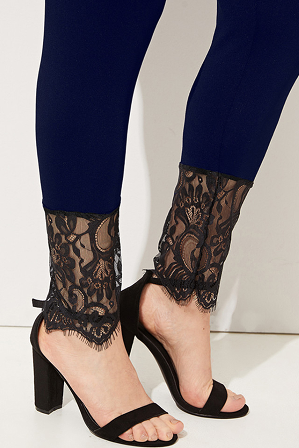 Lovely Stylish Lace Patchwork Black Leggings