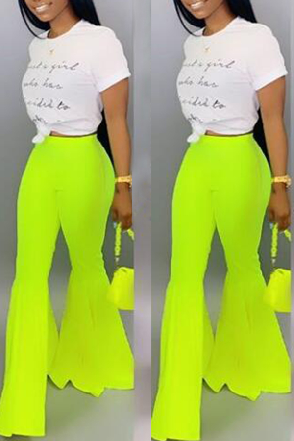 Lovely Stylish High Waist Green Horn-type Pants