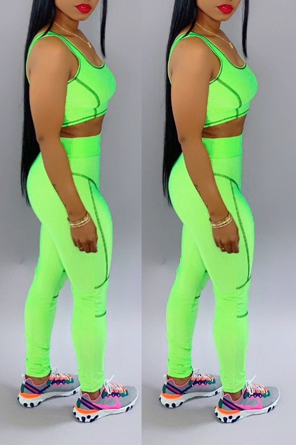 Lovely Casual U Neck Patchwork Green Two-piece Pants Set