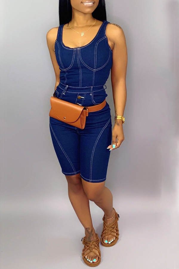 Lovely Casual Buttons Design Blue One-piece Romper