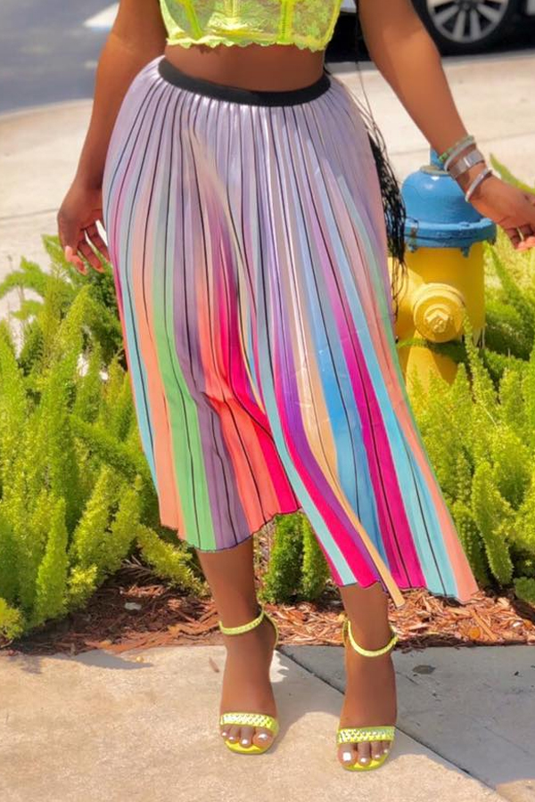 Lovely Sweet Printed Multicolor Mid Calf A Line Skirt