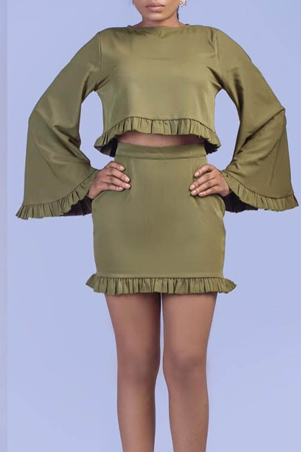 Lovely Casual O Neck Ruffle Design Army Green Two-piece Skirt Set