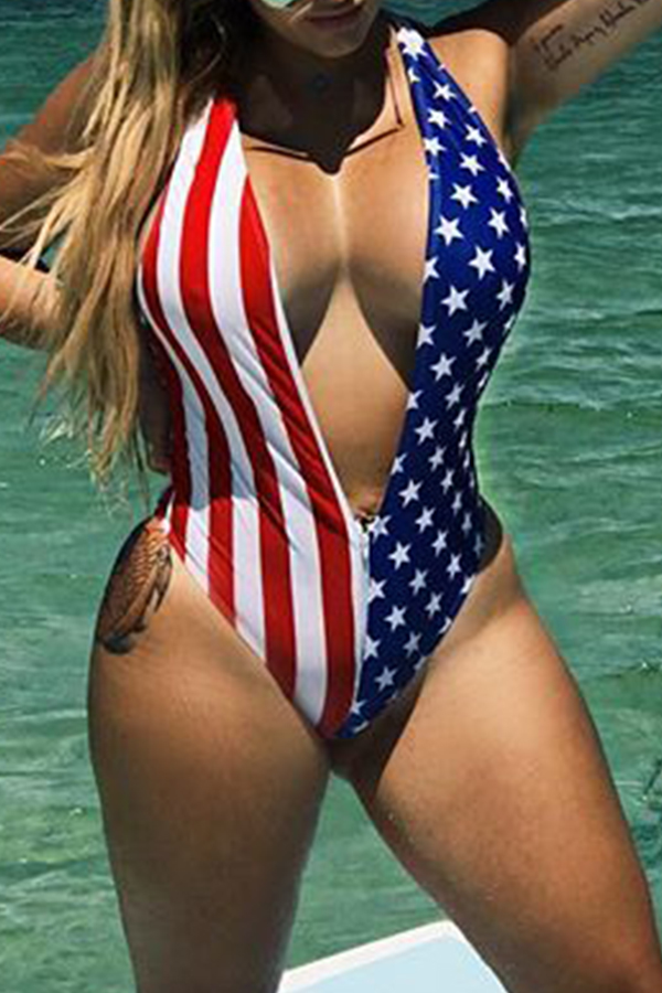 Lovely Independence Day Deep V Neck Printed Red One-piece Swimwear