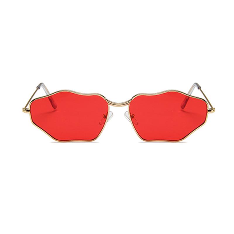Lovely Trendy Asymmetrical Red Metal Sunglasses