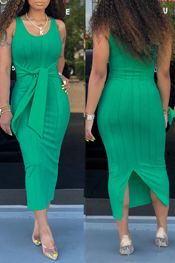 Lovely Casual U Neck Tank Sleeveless Green Mid Calf Dress