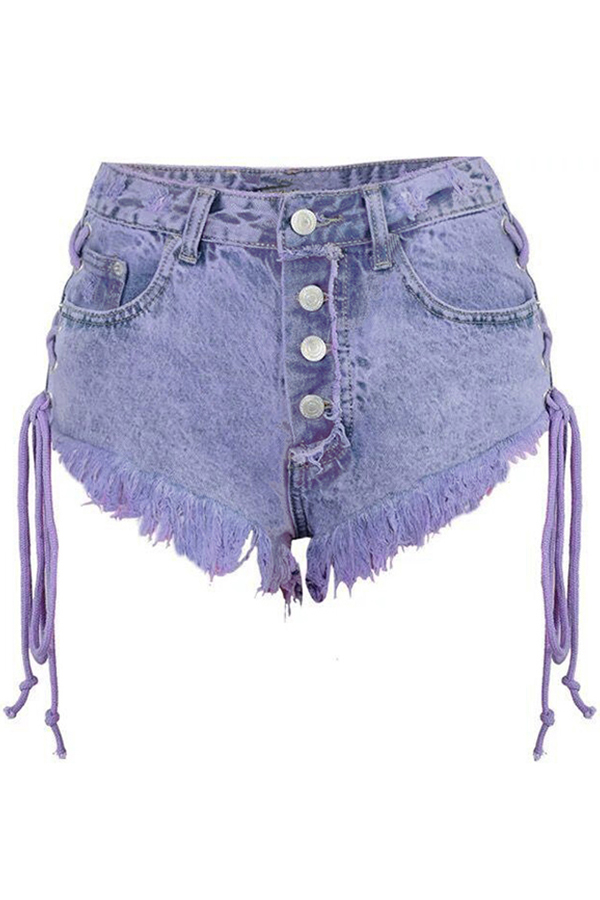 Lovely Trendy Raw Edge Purple Shorts