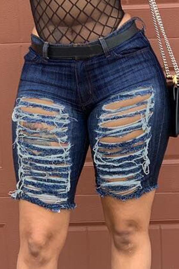Lovely Leisure Broken Holes Dark Blue Denim Shorts