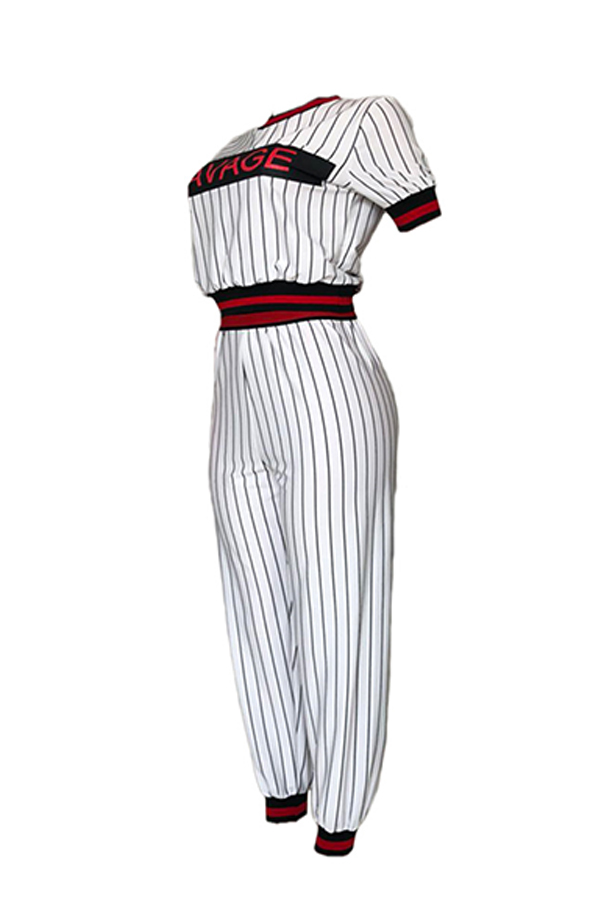 Lovely Casual Letter Printed Striped White Two-piece Pants Set