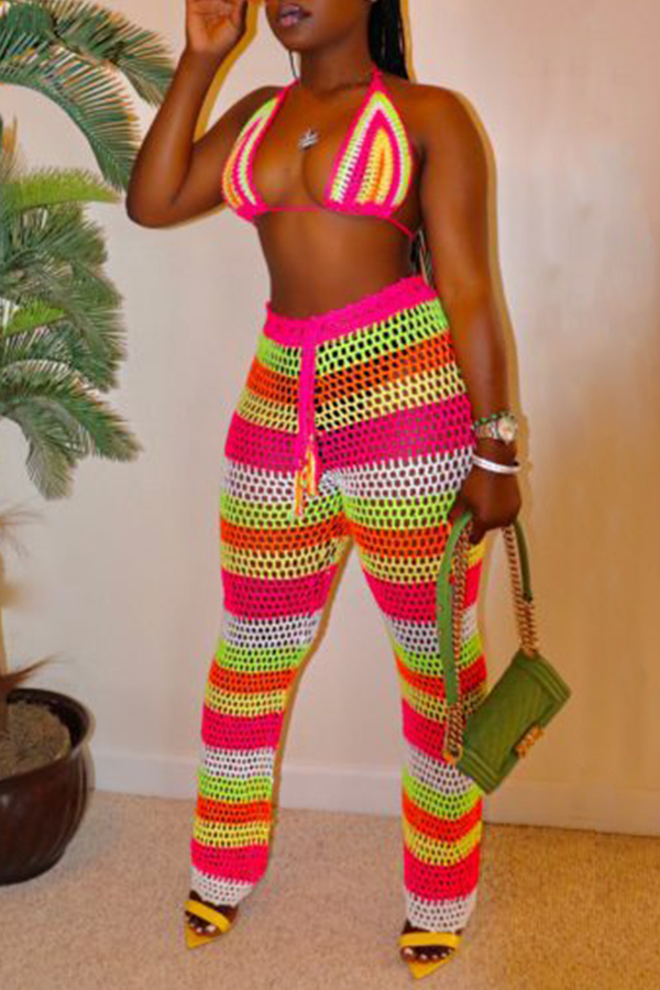 Lovely Fashion Halter Neck Hollow-out Multicolor Two-piece Swimwear