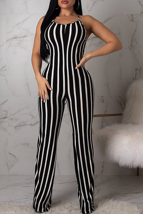 Lovely Sexy Striped Lace-up Hollow-out One-piece Jumpsuit(With Elastic)