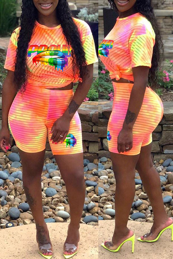 Lovely Leisure Letter Printed Orange Two-piece Shorts Set