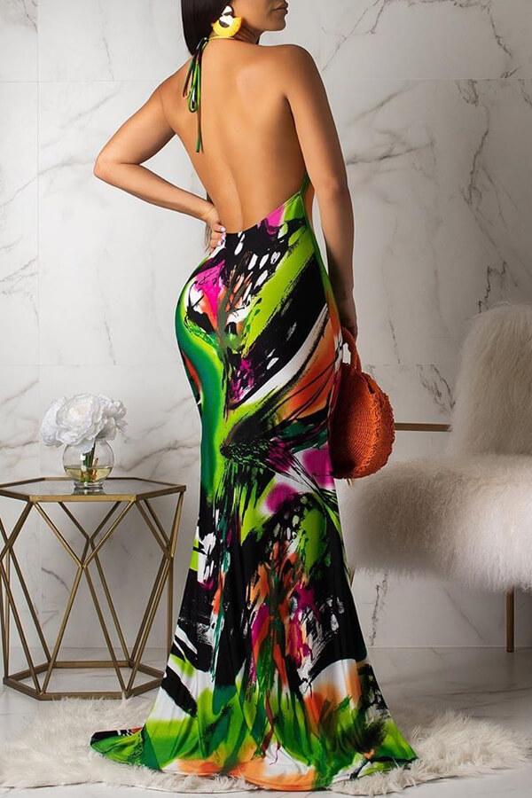 Lovely Bohemian Halter Neck Printed Multicolor Floor Length Dress