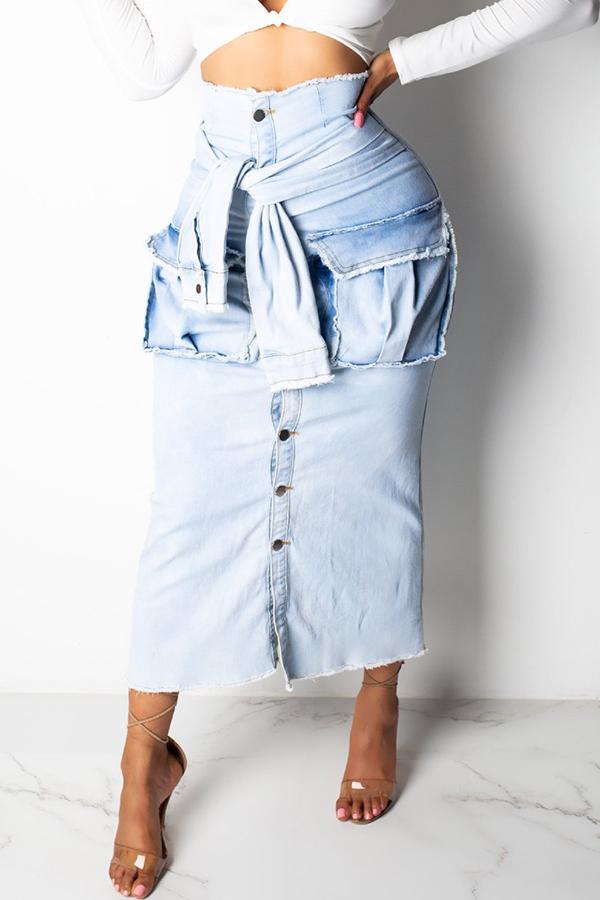 Lovely Casual Pocket Decoration Blue Denim Ankle Length A Line Skirt