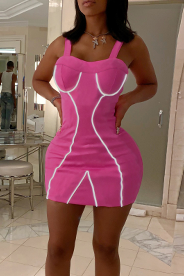 Lovely Casual Spaghetti Straps Rose Red Mini A Line Dress