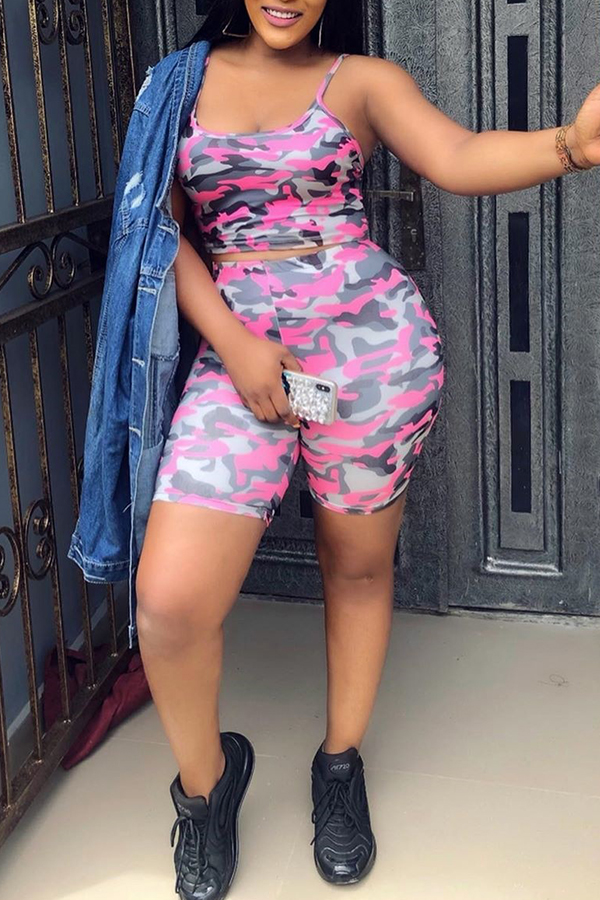 Lovely Casual Camouflage Printed Pink Two-piece Shorts Set