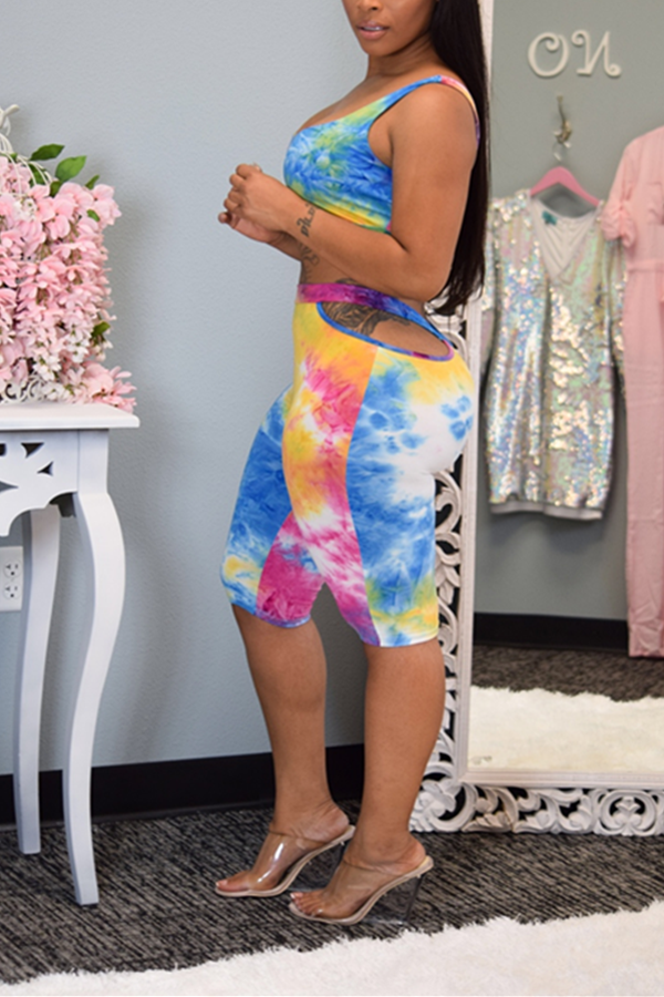 Lovely Casual Tie-dye Hollow-out Multicolor Two-piece Shorts Set