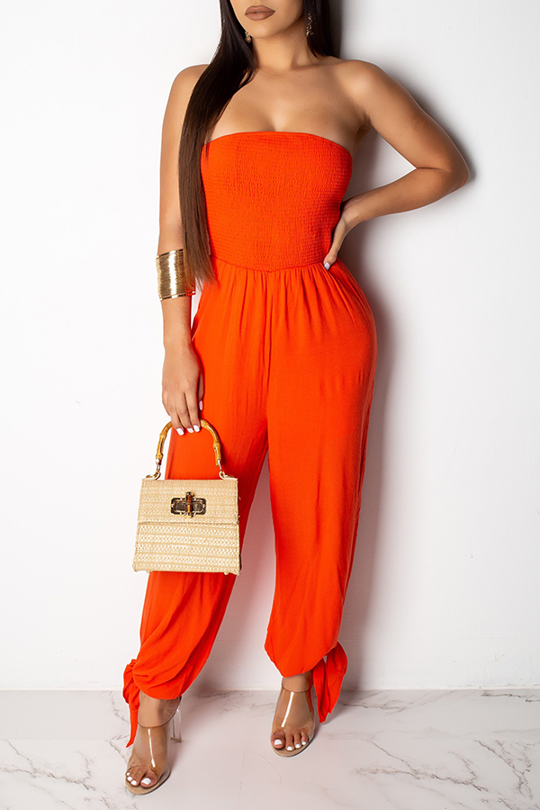 Lovely Sexy Off The Shoulder Orange One-piece Jumpsuit ...