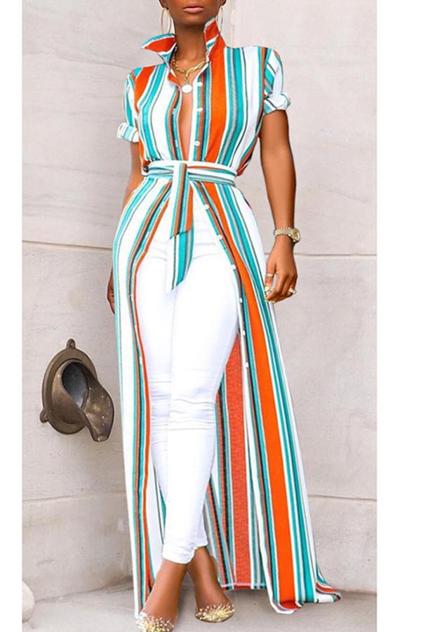 Lovely Stylish Turndown Collar Striped Asymmetrical Croci Blouse