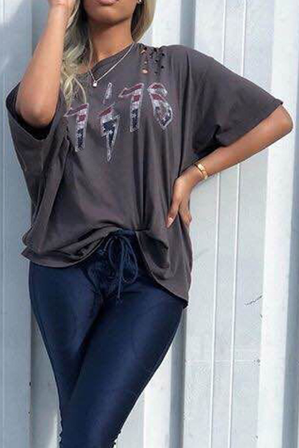 Lovely Casual Letter Printed Broken Holes Grey T-shirt