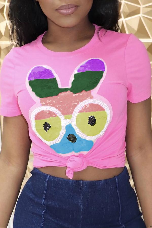 Lovely Trendy O Neck Printed Light Pink T-shirt