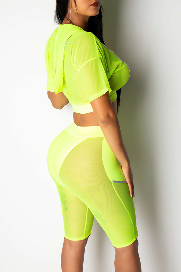 Lovely Sexy Hooded Collar See-through GreenTwo-piece Shorts Set(Without Lining)